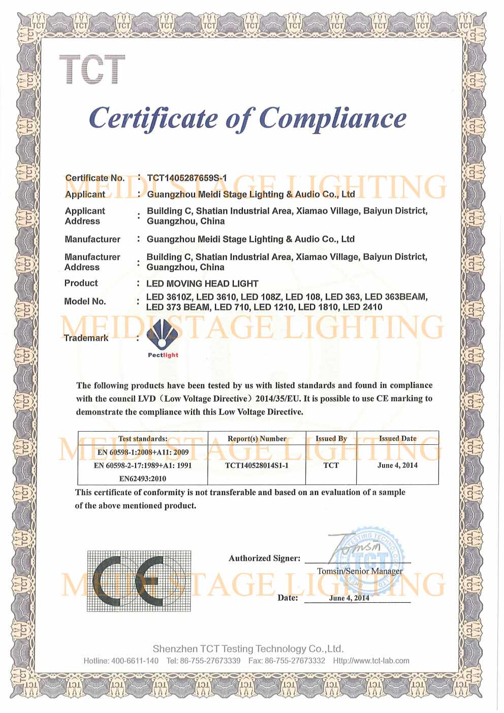 LVD-CE CERTIFICATE OF LED MOVING HEAD LIGHT