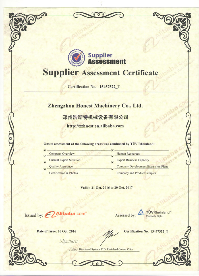 Supplier Assessment Certificate from TUV