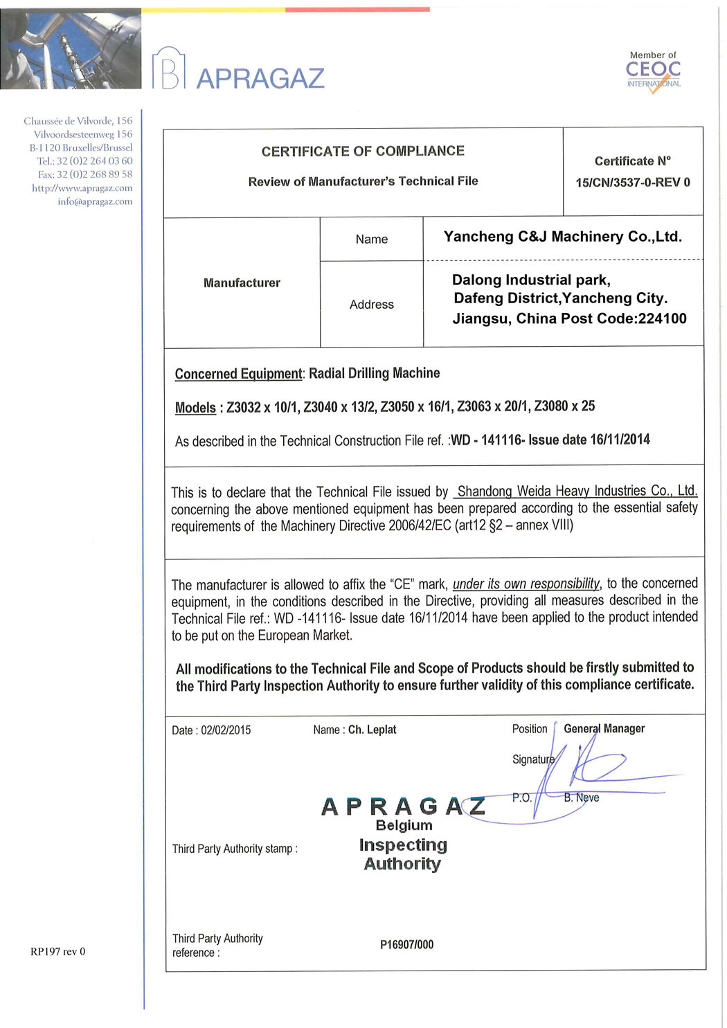 CE certificate for radial drilling machine