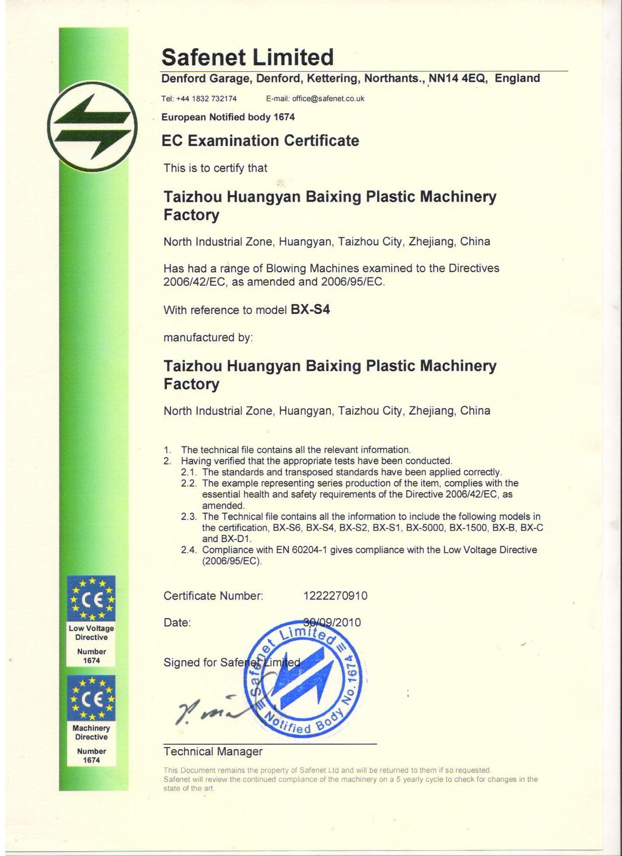 CE Certificate for The Products