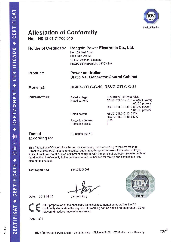 10KV TUV Certificate