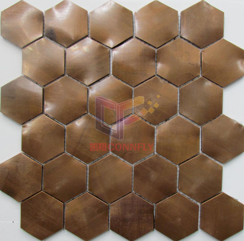 Hexagon Shape Copper Mosaic Tile(CFM1088)