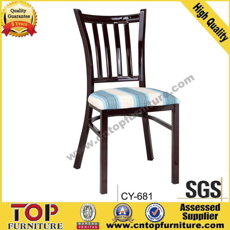 Hotel metal imitate wood restaurant dining chair