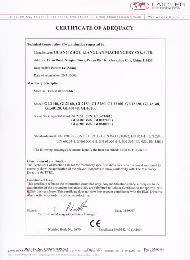 Two Shaft Shredder CE Certificate