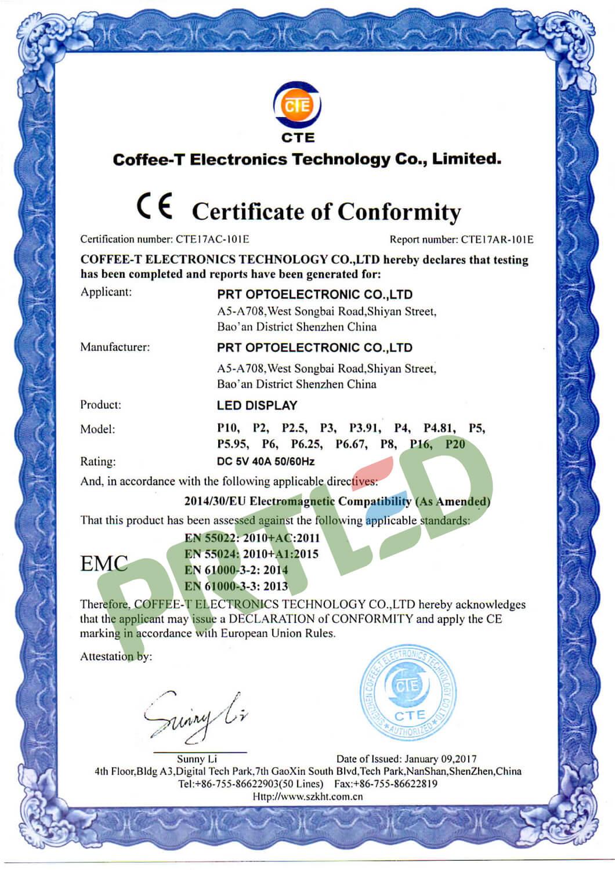 New certificate of CE-EMC