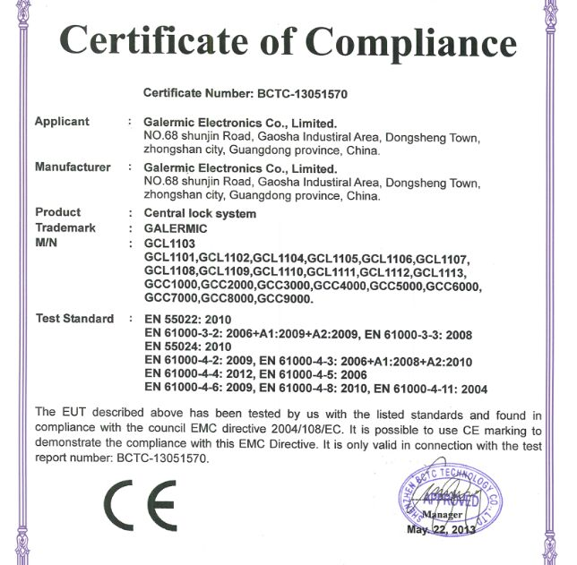 CE certificate for GALERMIC remote central door locking system