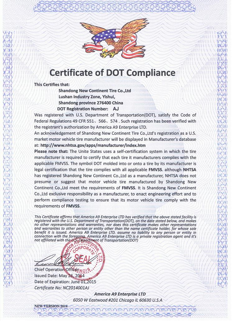 DOT OF Shandong New Continent Co.,LTD