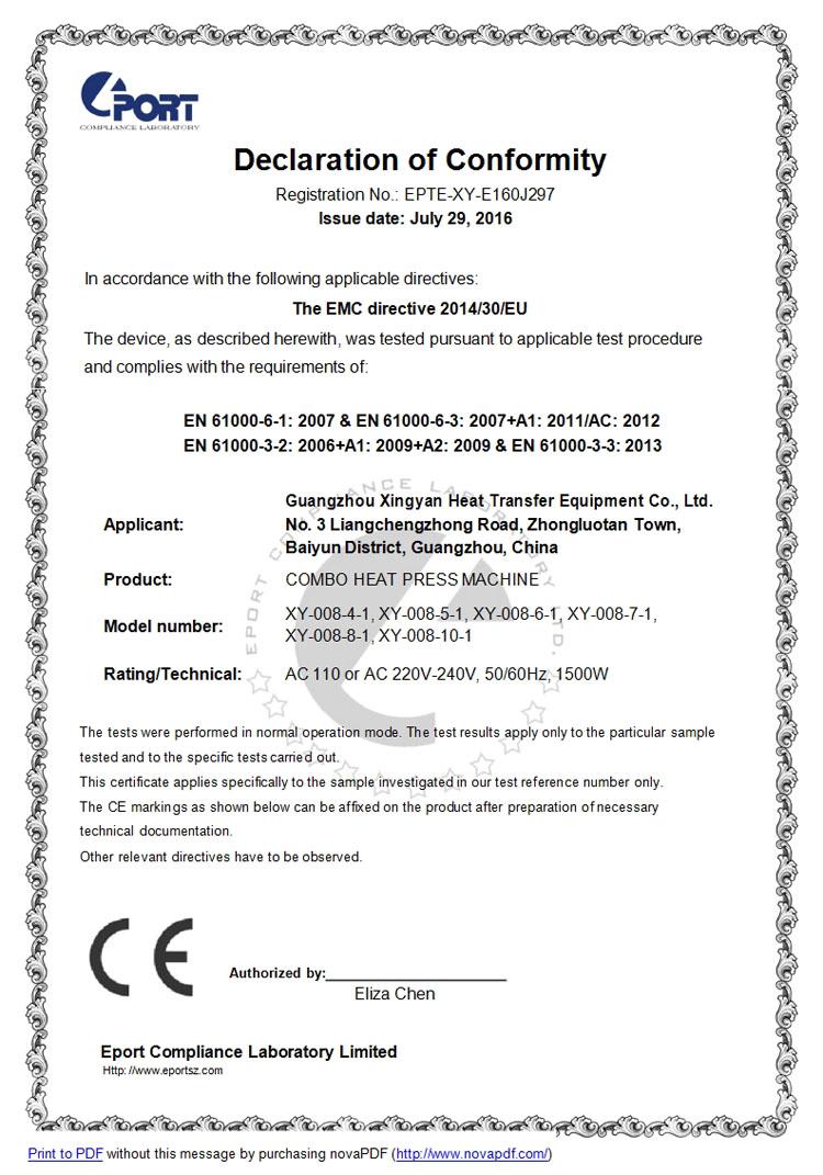CE Certificate of Combo heat press machine xy-008 series