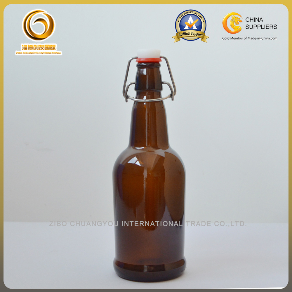 16oz glass beer bottle