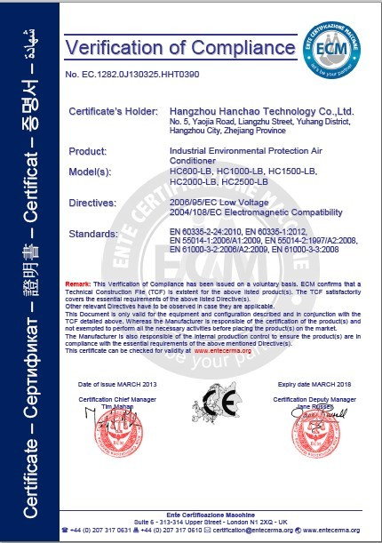 CE certificate of industrial air conditioner