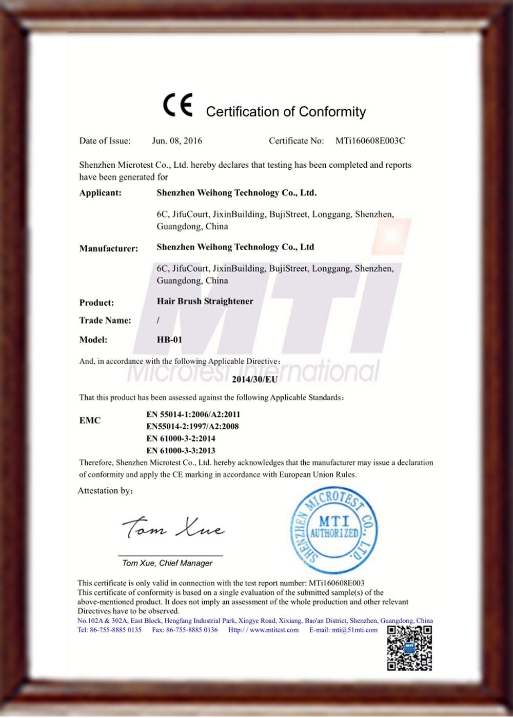 HB01 CE certificate