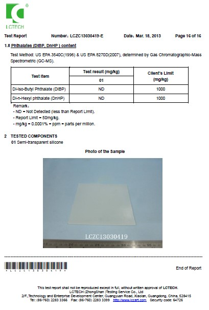 Silicon Material LETECH Certificate