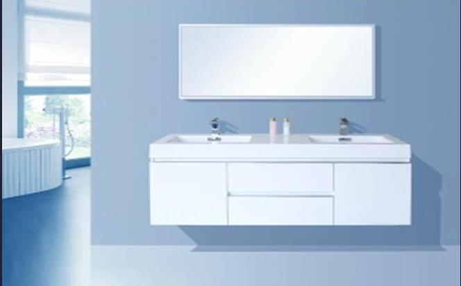 Resin Basin (two sinks) MDF + PVC Bathroom Cabinet