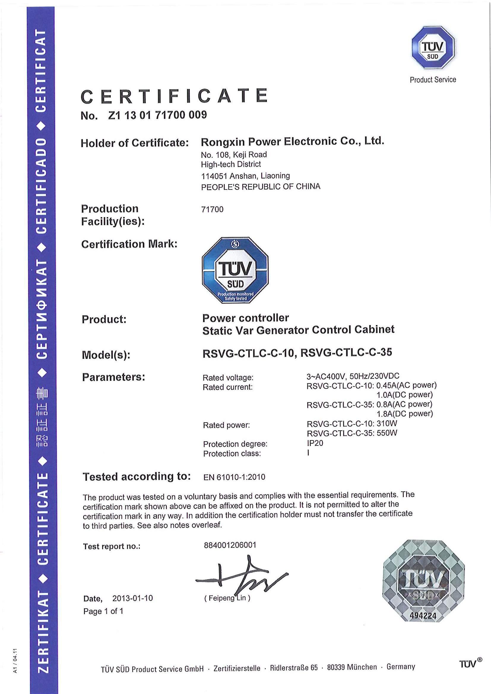 International Certificate of TUV