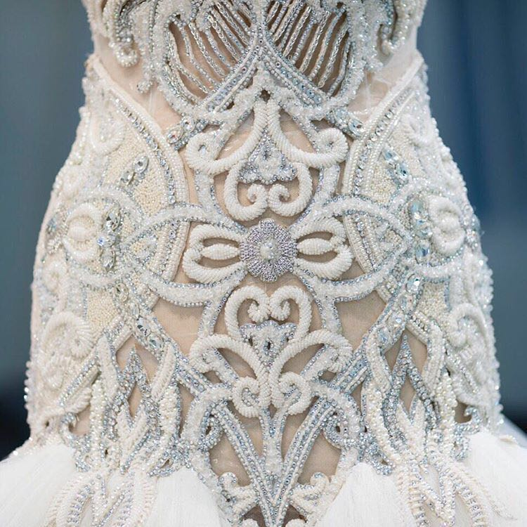 2017 New Style Lace hand Sew Beading for wedding Dress Bridal Gowns