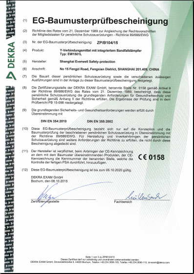 CE certification of absorber 1
