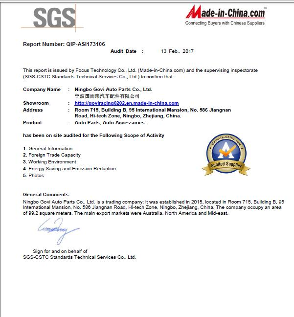 SGS Audit supplier report