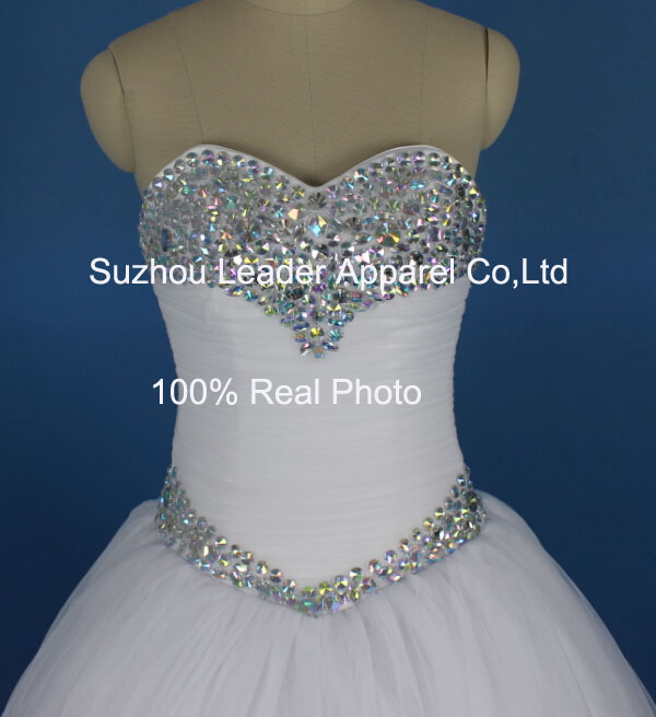 Handcrafted Ruffles and Beads on Wedding Evening Party Prom Dresses
