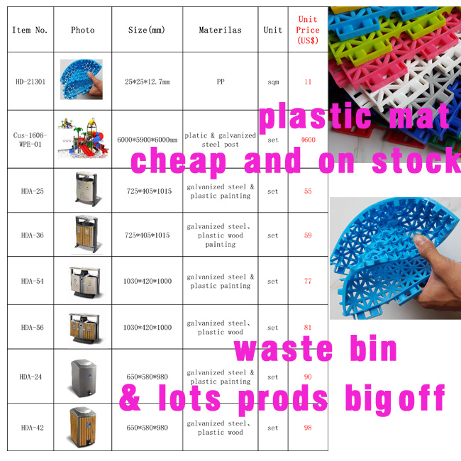 Plastic PP Soft Playground Mat Waste Bin and Playground National Day Promotion!