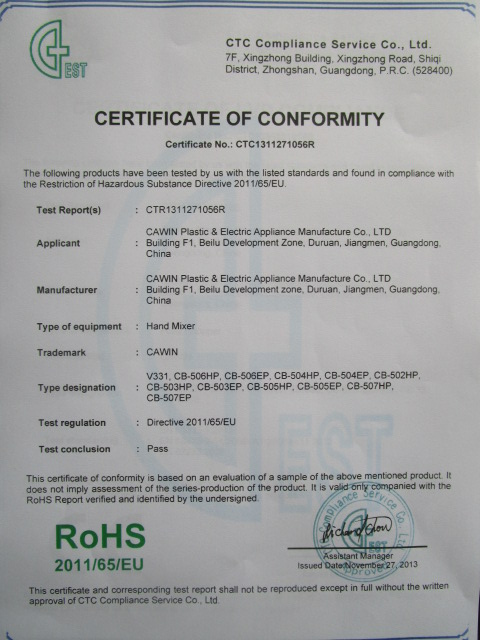 Rohs certificate of blender