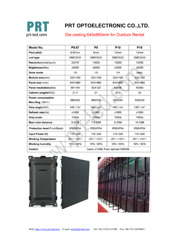 Die-casting 640x960mm Series for outdoor rental