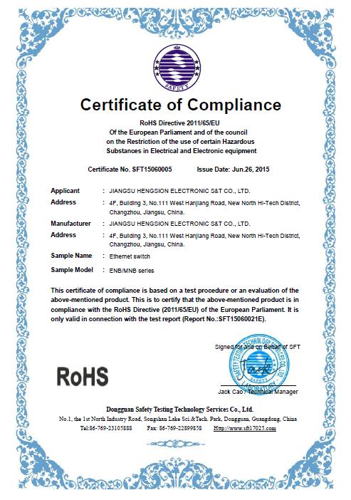 ROHS Certificate of ENB /MNB series