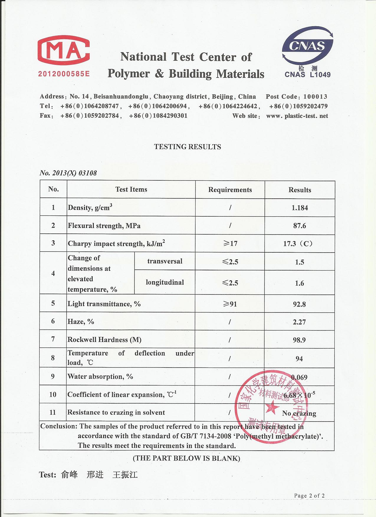 Test Report of Acrylic