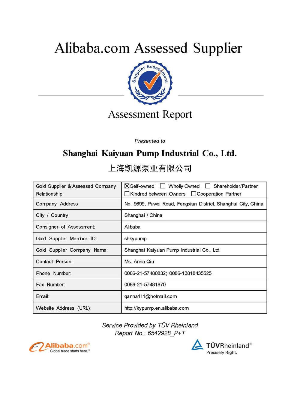 Company Verification By TUV Rheinland - Shanghai Kaiyuan Pump