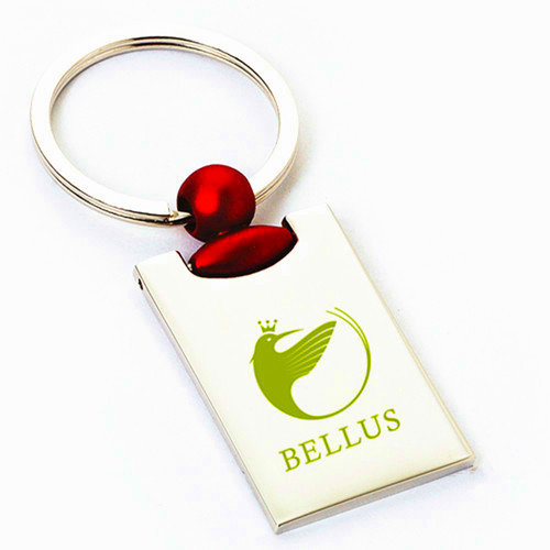 rectangle red key ring with printing company logo