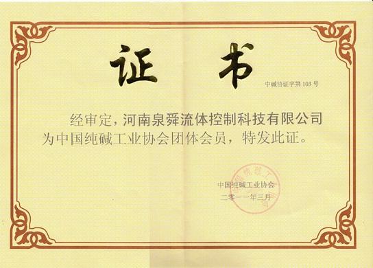 China Soda Ash Association Certificate