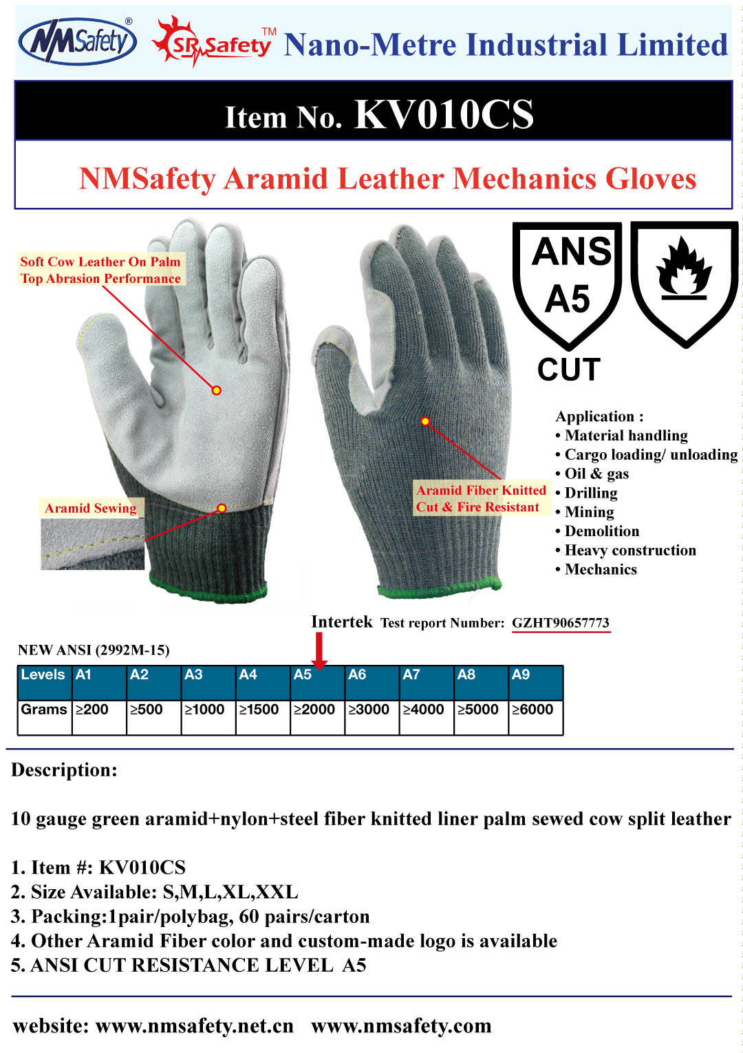 aramid+nylon+steel fiber palm sewing cow split leather ANSI 5 cut resistant glove