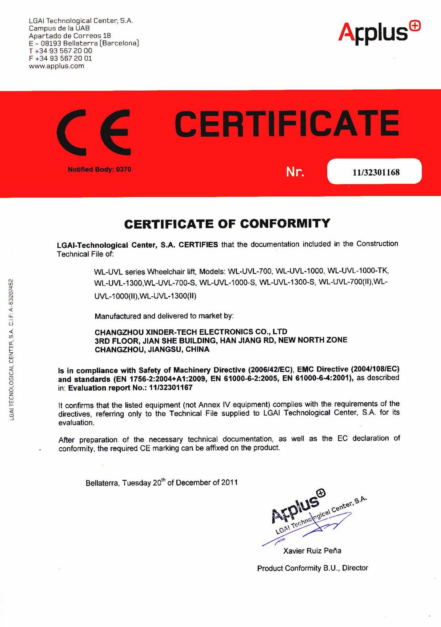 CE Certificate of WL-UVL Series Wheelchair Lift