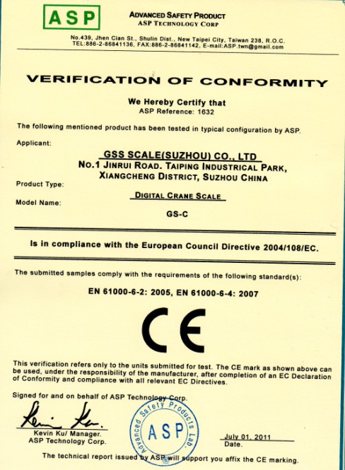 CE Certificate for Crane Scale