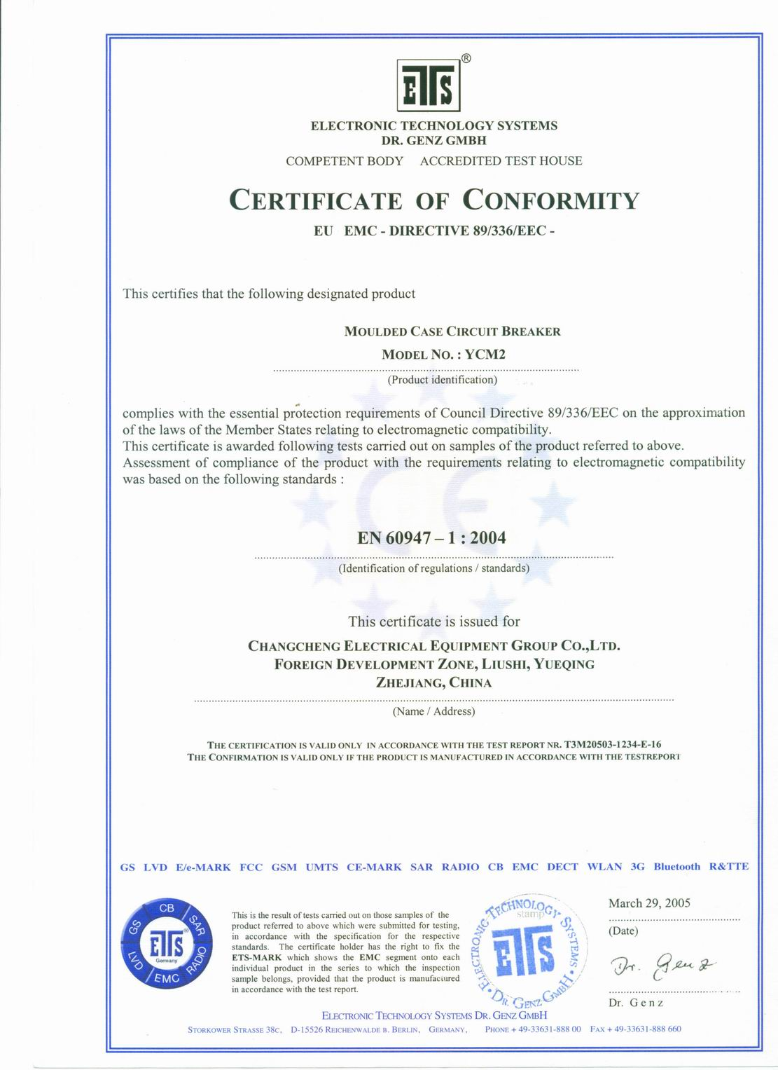 CE Certificates for MCCB