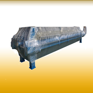 Packaged filter press before shippment