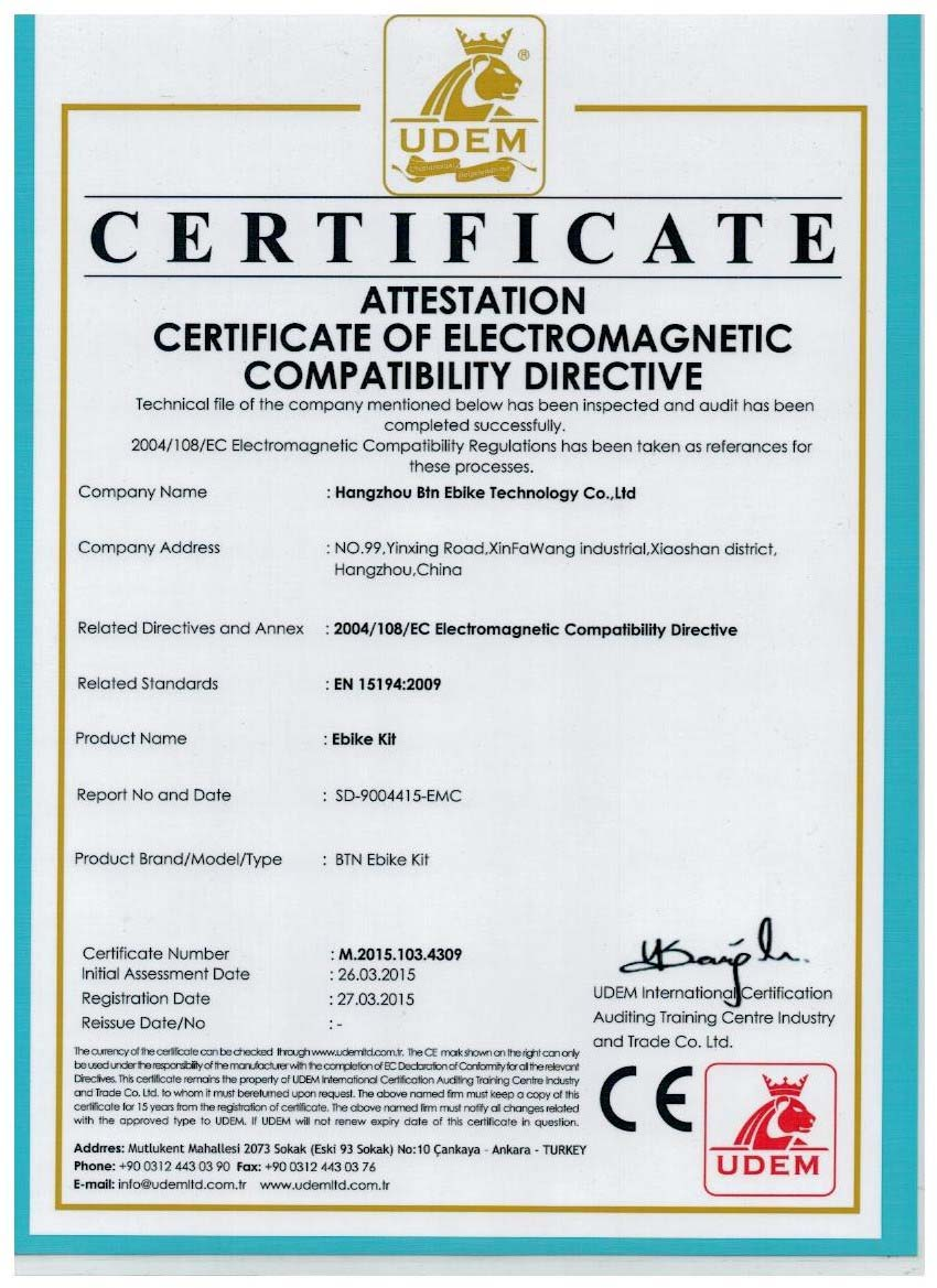 CE of the electric bicycle kit