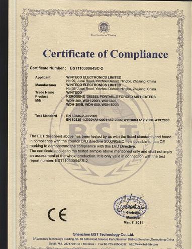 Diesel Heater Certificate 2