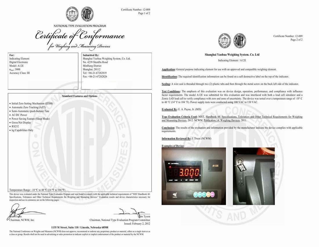 NTEP certificate