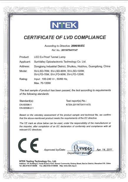 CERTIFICATE of LVD COMPLIANCE(LED Ex-proof Tunnel light)