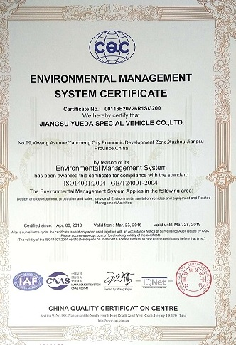 Certificate of ISO14001