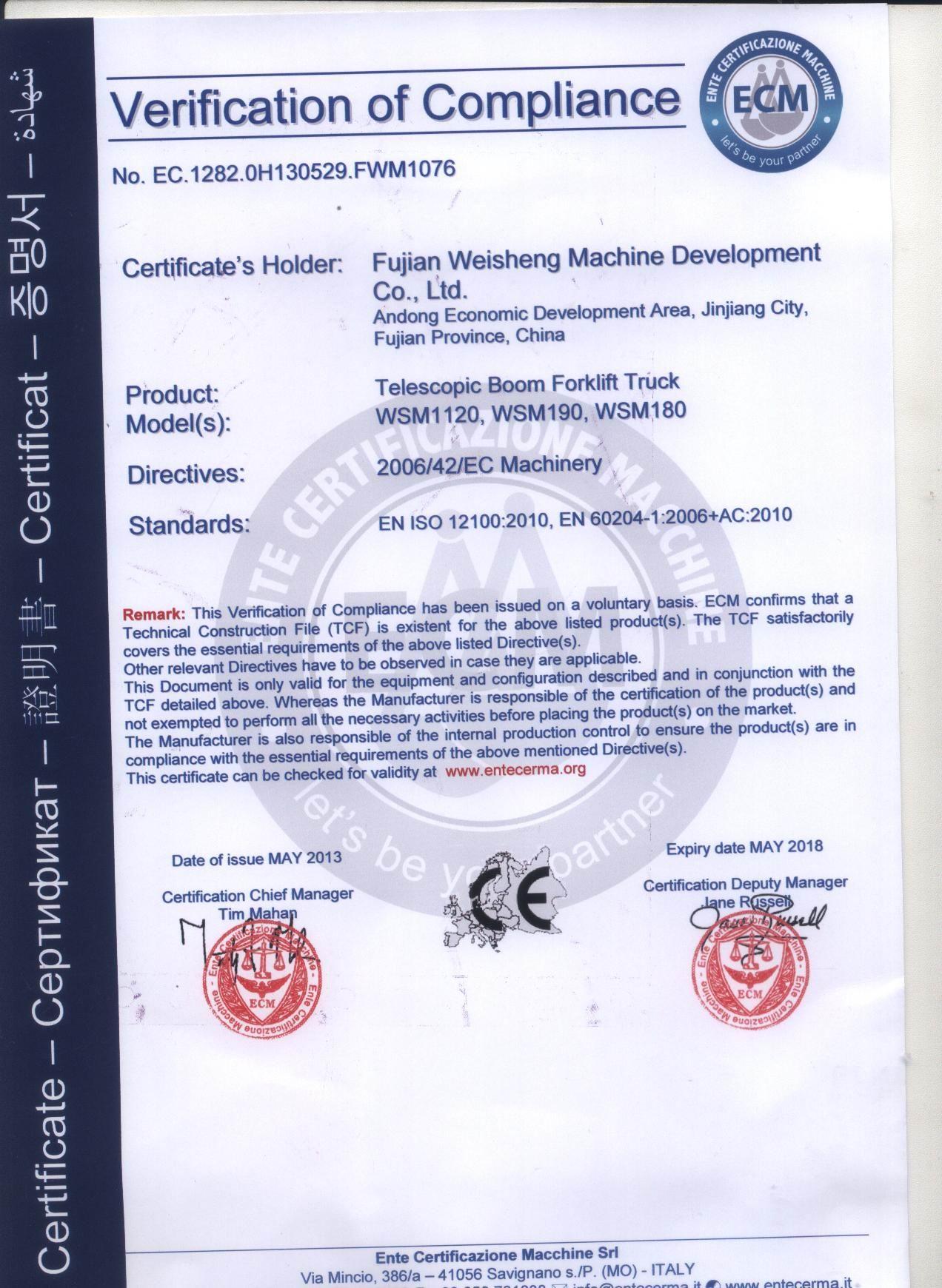 Telescopic Boom Forklift Truck CE certification
