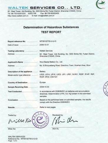 Determination of Hazardous Substances Test Report(ROHS)