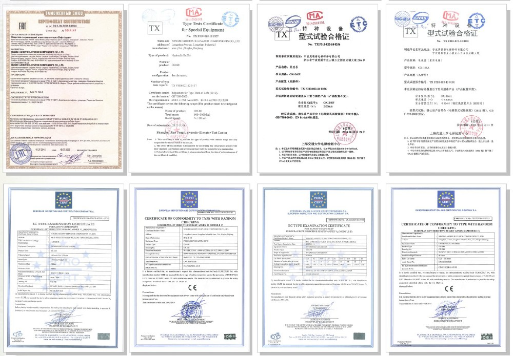 Certificates of safety components series