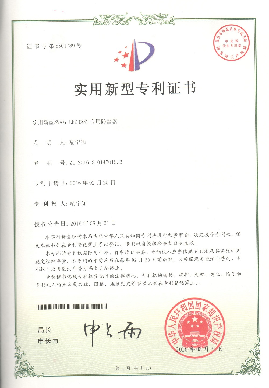 Patent certificate of LED Street light SPD