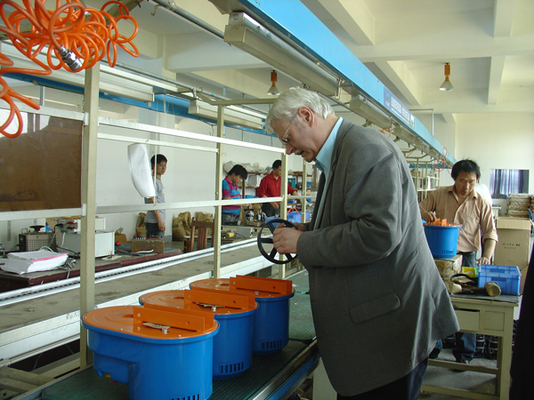 Customer checking quality on the production line
