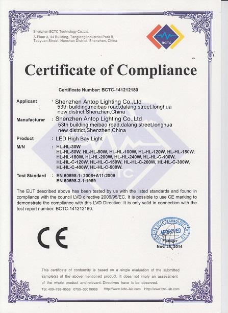CE-LVD of LED High Bay Light