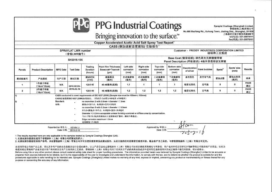 Copper Accelerated Acetic Acid Salt Spray Test Report