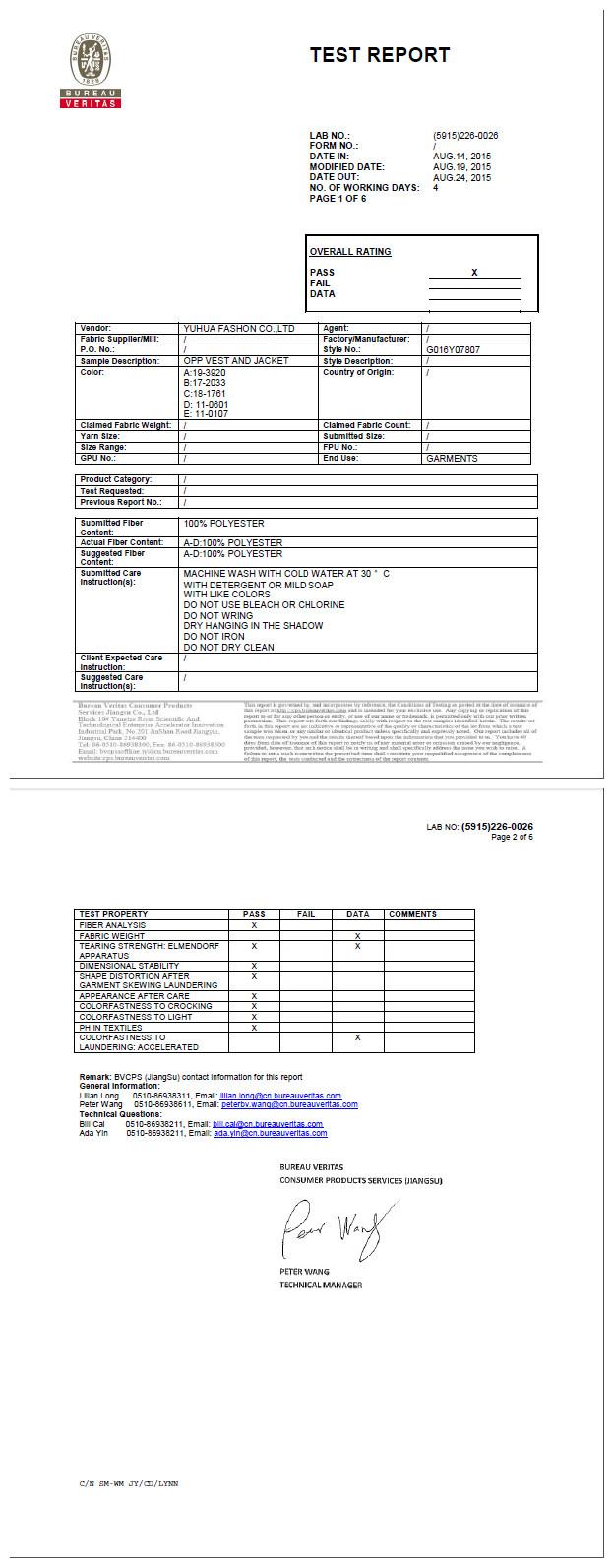 BV Certificate of 210T Taffeta