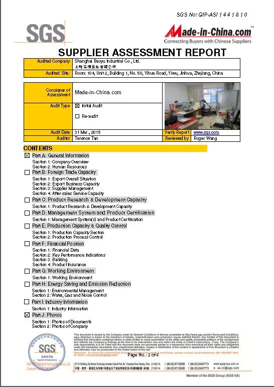 Supplier Assessment Report