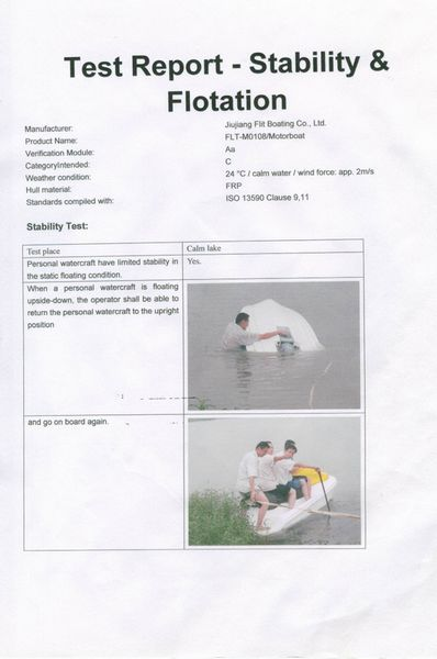 Stability &Floation test report